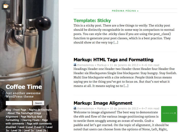 Coffee Time WordPress Theme Medium