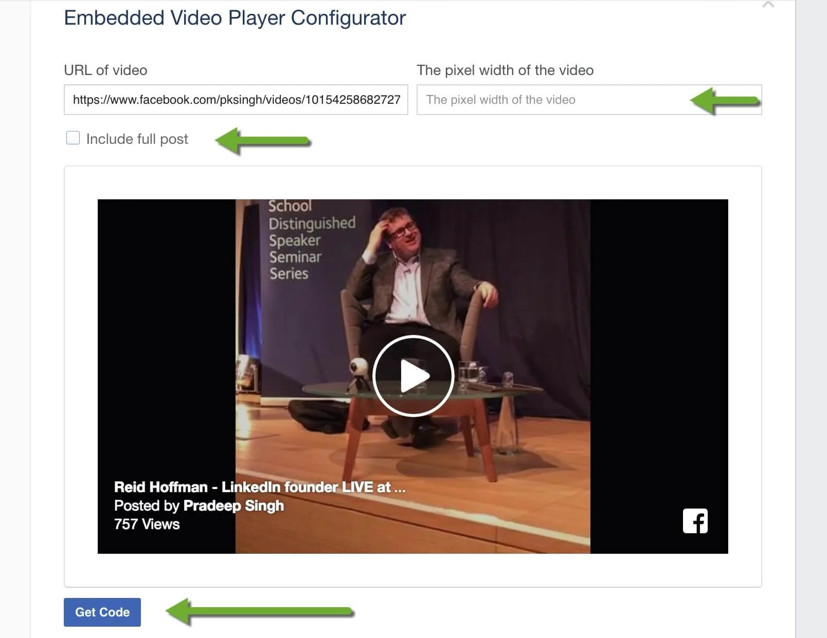 Configure Video Player of Facebook
