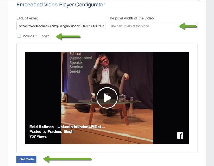 Configure Video Player of Facebook