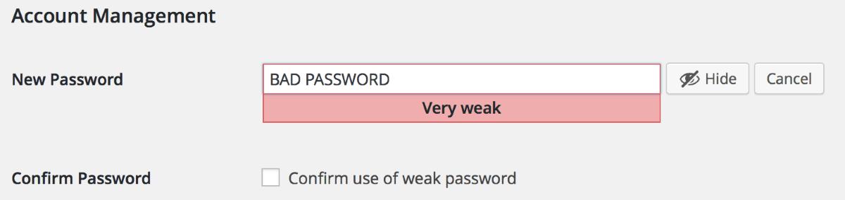 Confirm use of Weak Passwords WordPress