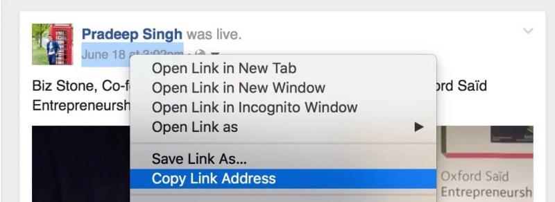 Copy Link Address of Facebook Video URL
