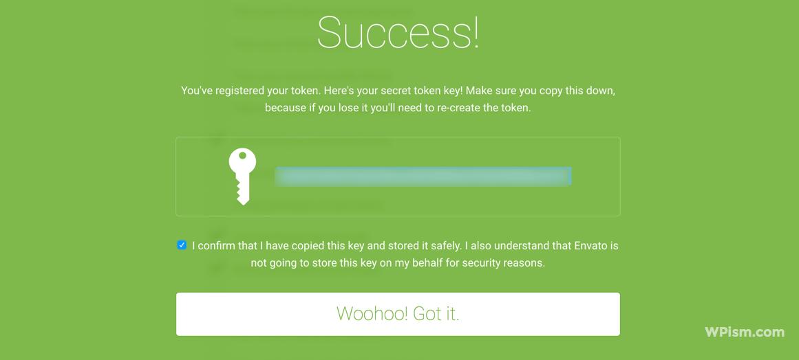Copy your secret Envato token key