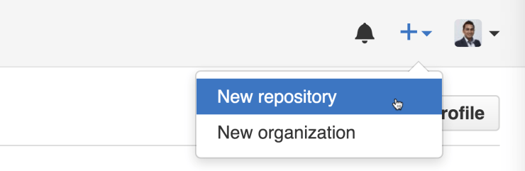 Create new repository Github website