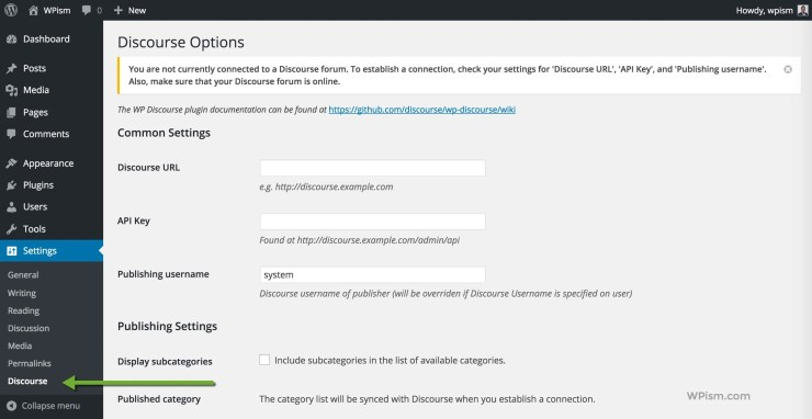 Discourse WordPress Plugin settings