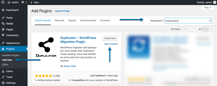 Download and Install Duplicator Plugin