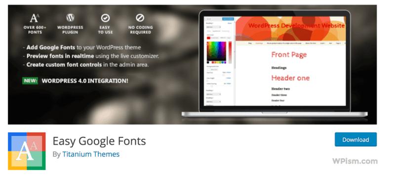 Easy Google Fonts for WordPress plugin