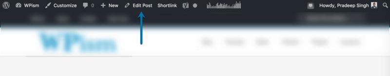 Edit Post Link WordPress Navigation Menu