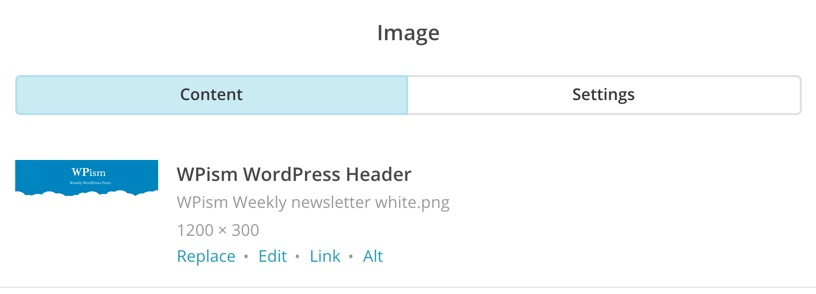 Editing Options for Image MailChimp RSS