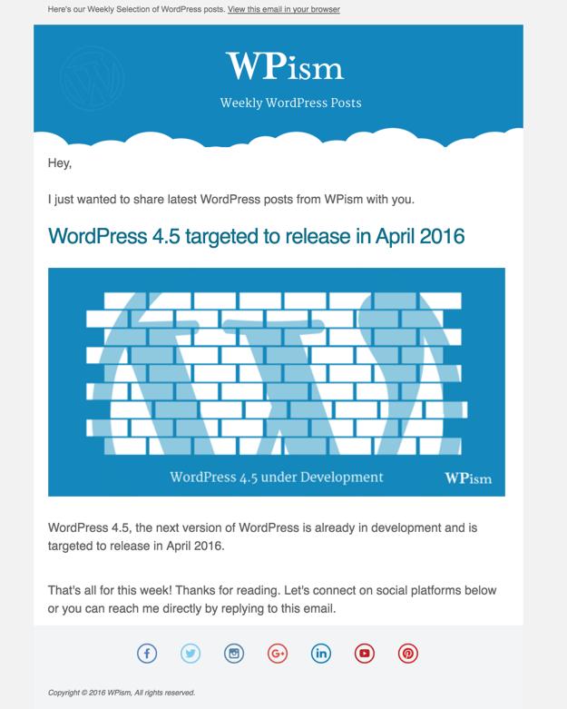 Email sent via MailChimp RSS
