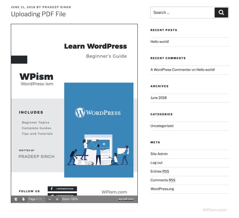 Embed PDF WordPress Viewer Download