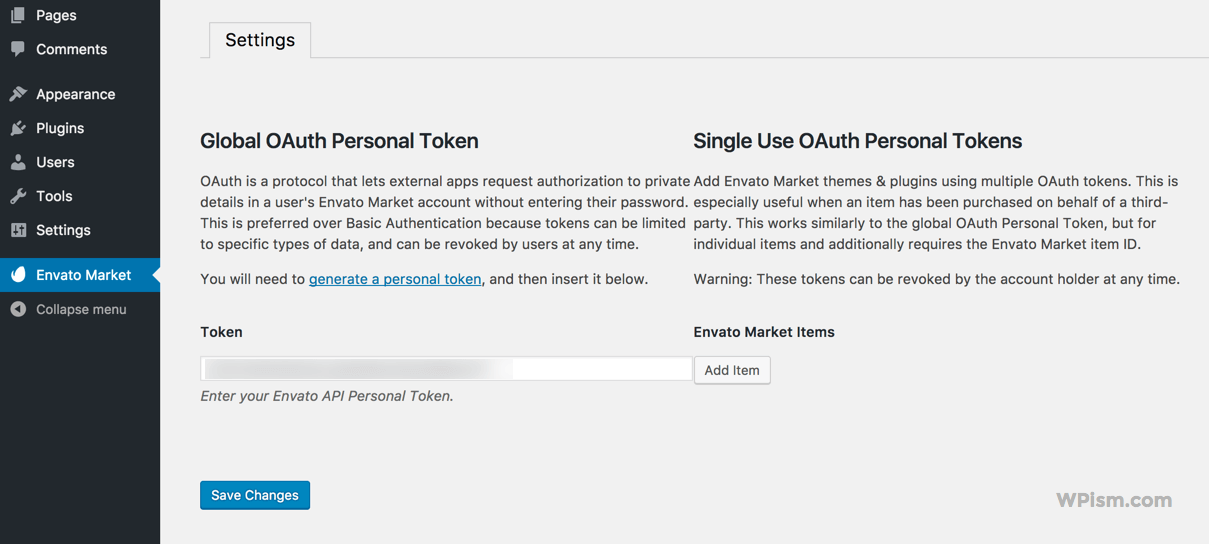Enter the Envato API Secret token key