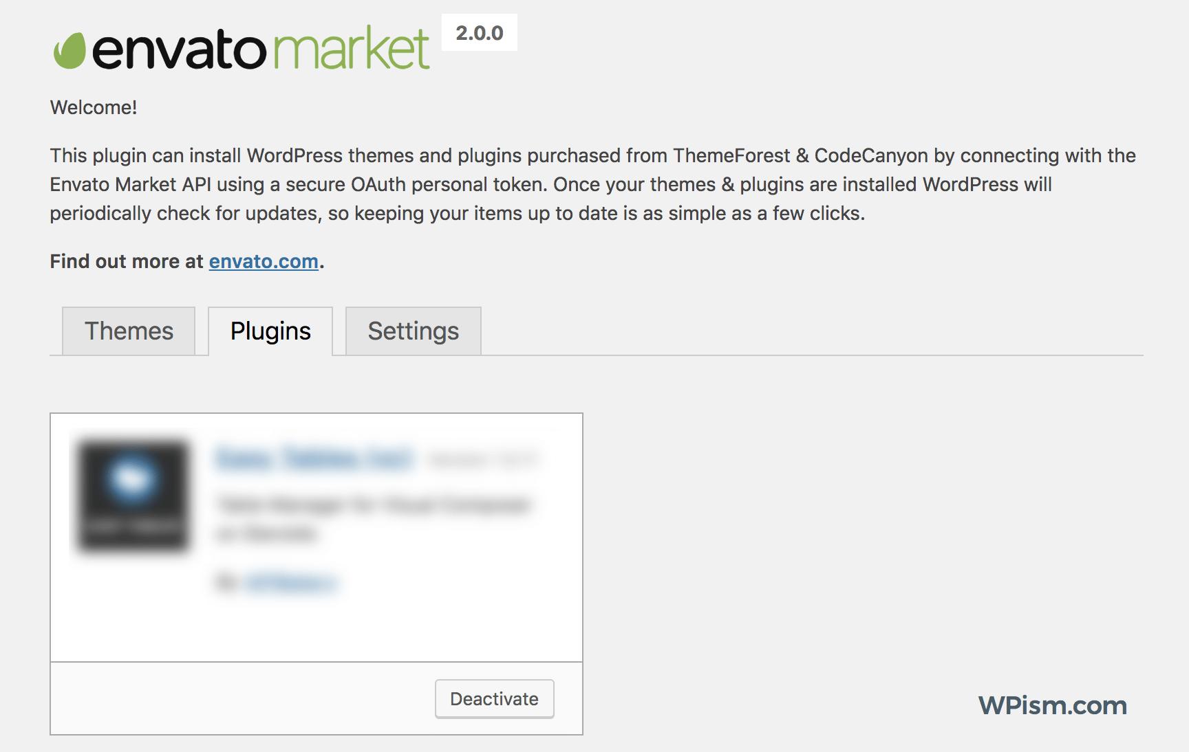 Envato Market Plugin Settings