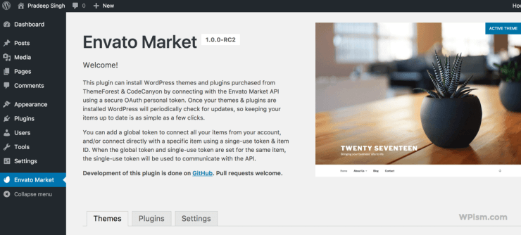 Envato Market WordPress Dashboard