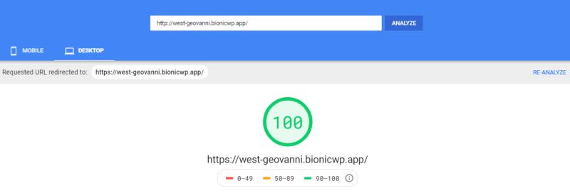 Fast BionicWP WordPress Hosting speedinsights mobile review