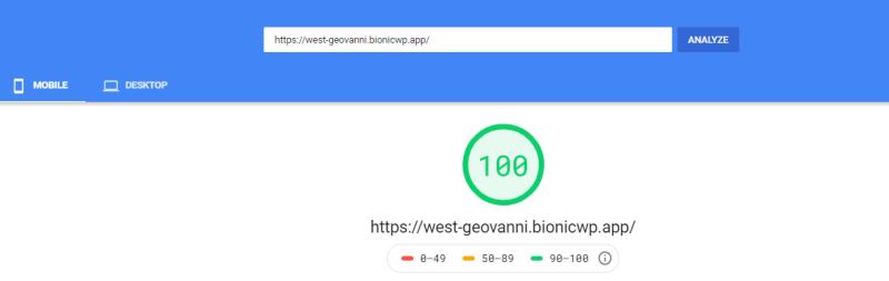 Fast BionicWP WordPress Hosting speedinsights review