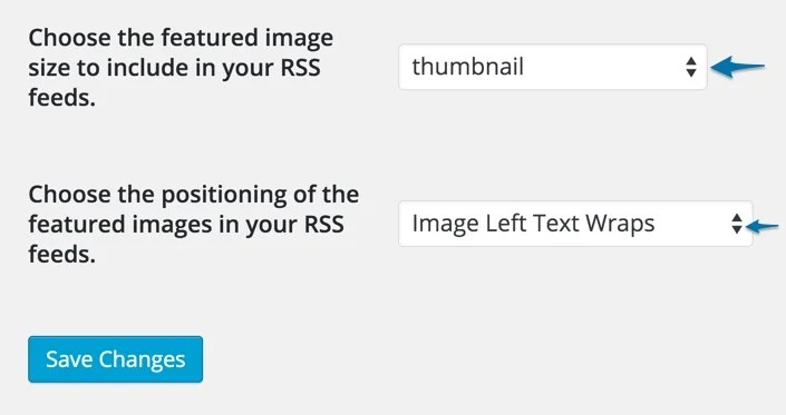 Featured Images In RSS Feeds Plugin Settings