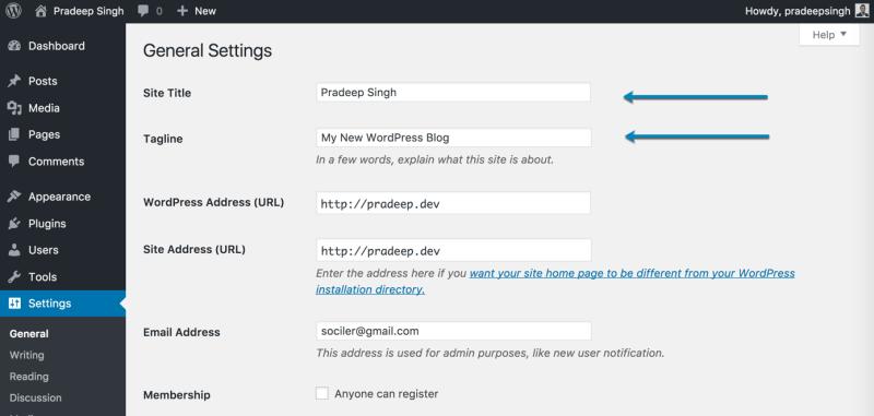 General Settings WordPress Blog for SEO