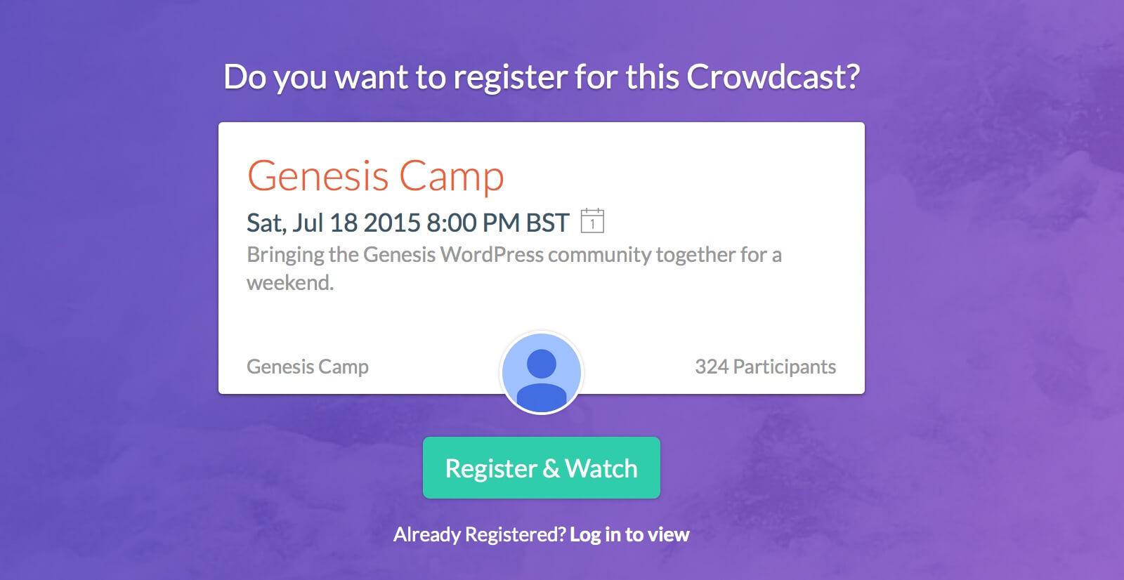 Genesis Camp Crowdcast Website