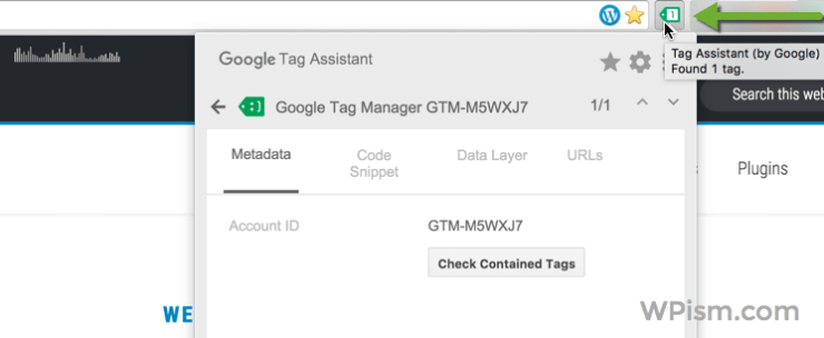 Google Tag Assistant in Chrome Extension