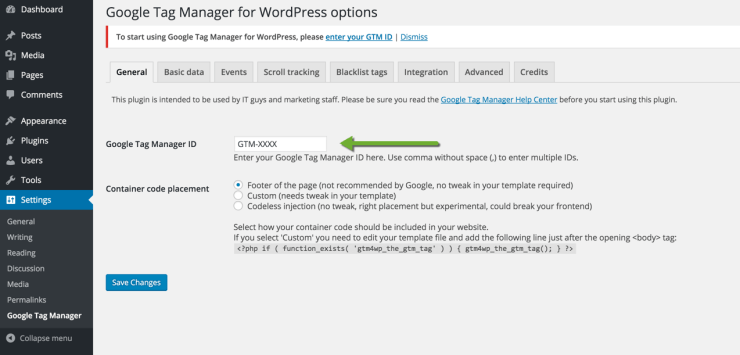 Google Tag Manager for WordPress Options