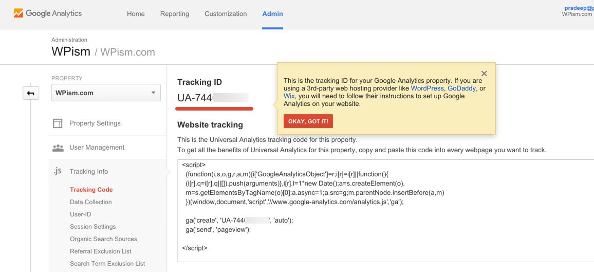 Google Tracking ID Analytics