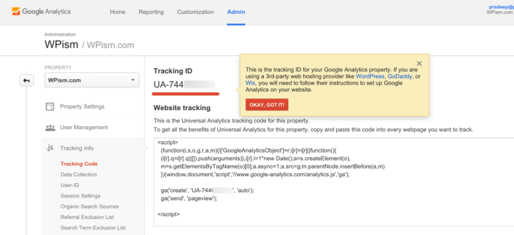 Google Tracking ID Analytics
