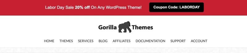 Gorilla Themes Labor Day Sale