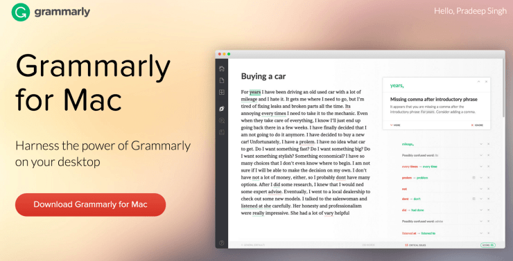 Grammarly for Mac Desktop Application