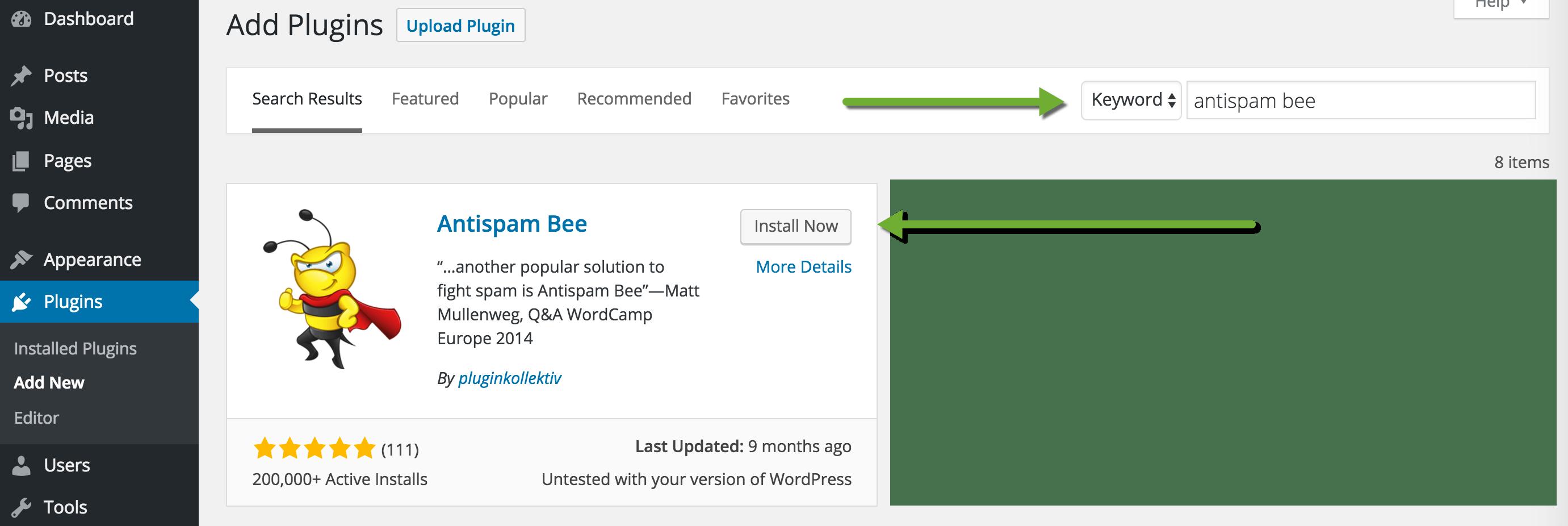 Install Antispam Bee Plugin