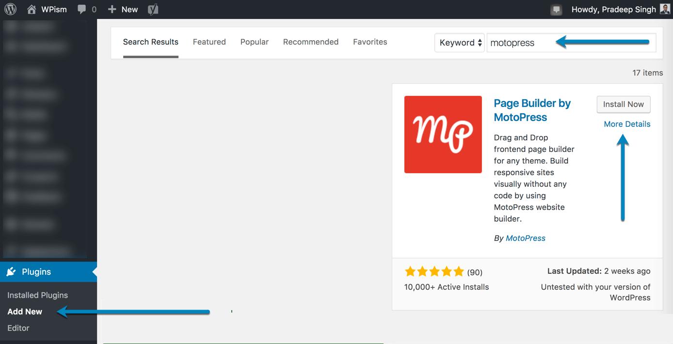 Installing MotoPress Page Builder Plugin WordPress