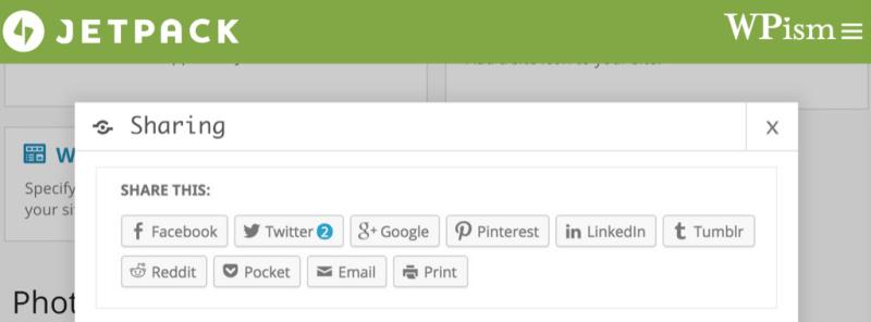 Jetpack Sharing Buttons WordPress