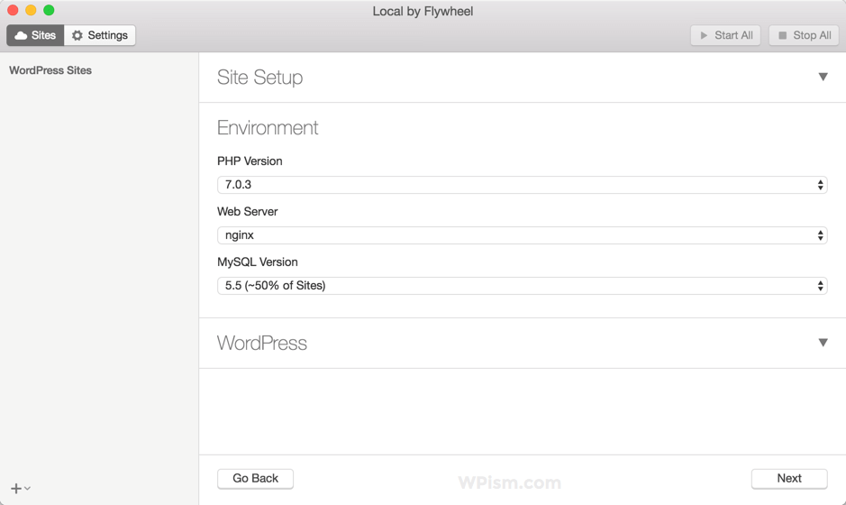 Local by Flywheel Application environment settings