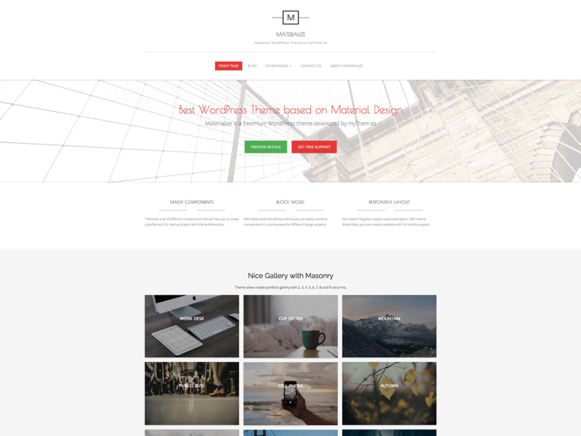 Materialize By mythemes WordPress Theme