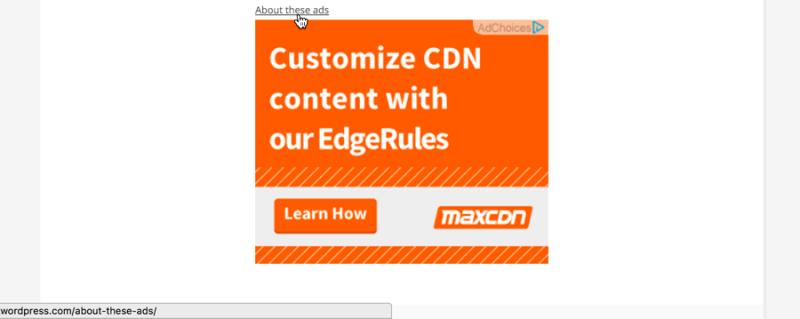 MaxCDN Ad on WordAds