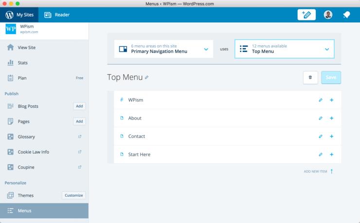 Menus in WordPress Application