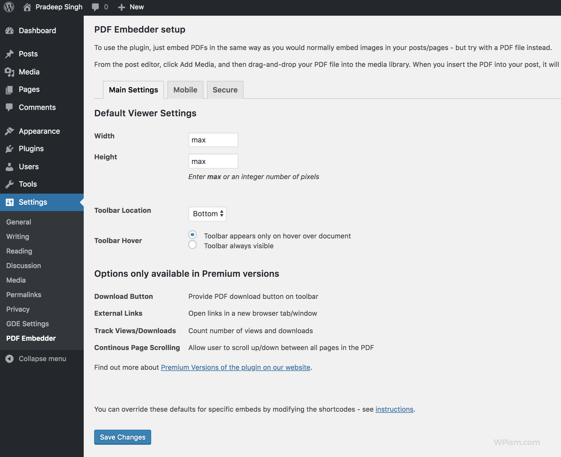 PDF Embedder setup options
