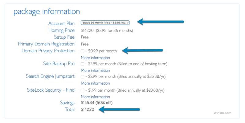 Package Information and Plan for Blog BlueHost