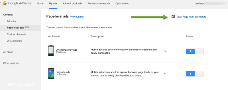 Page-level ads performance reports link adsense