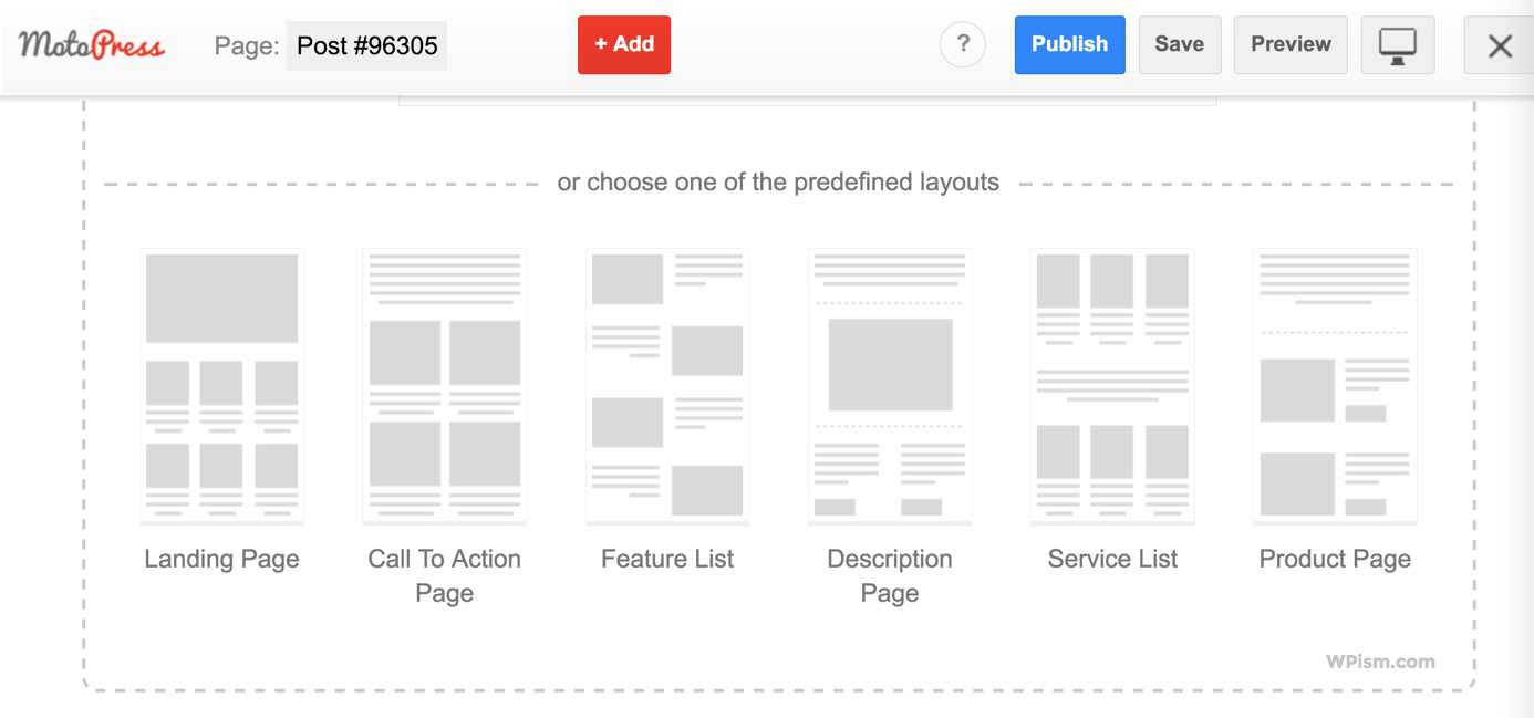 Predefined layouts MotoPress page builder