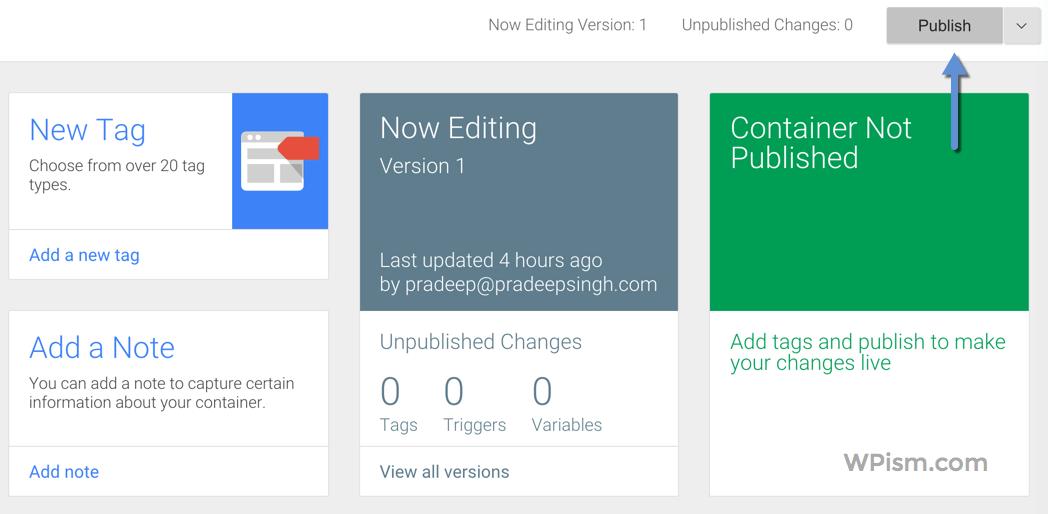 Publish Google Tag Manager Code