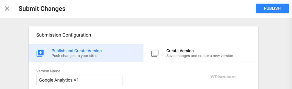 Publish and create Version Tag Manager