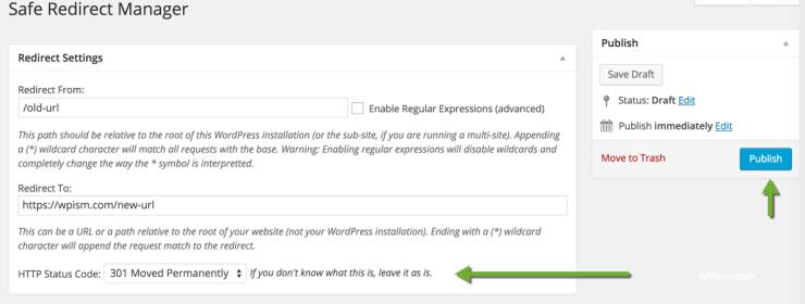 how to create a 301 redirect wordpress
