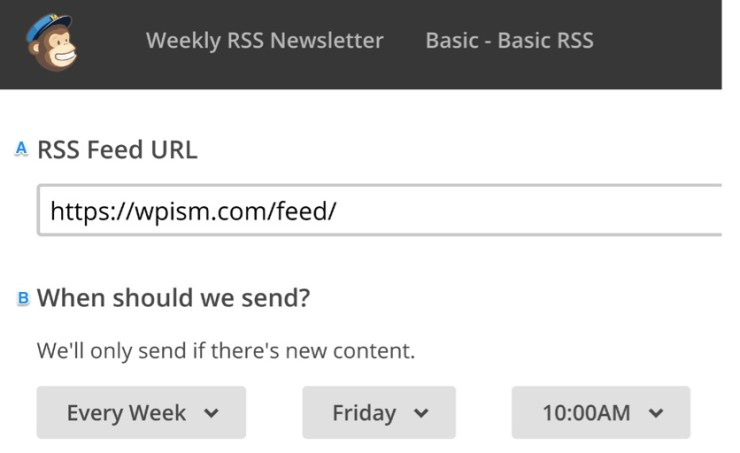 Setting RSS Feed URL and Time MailChimp