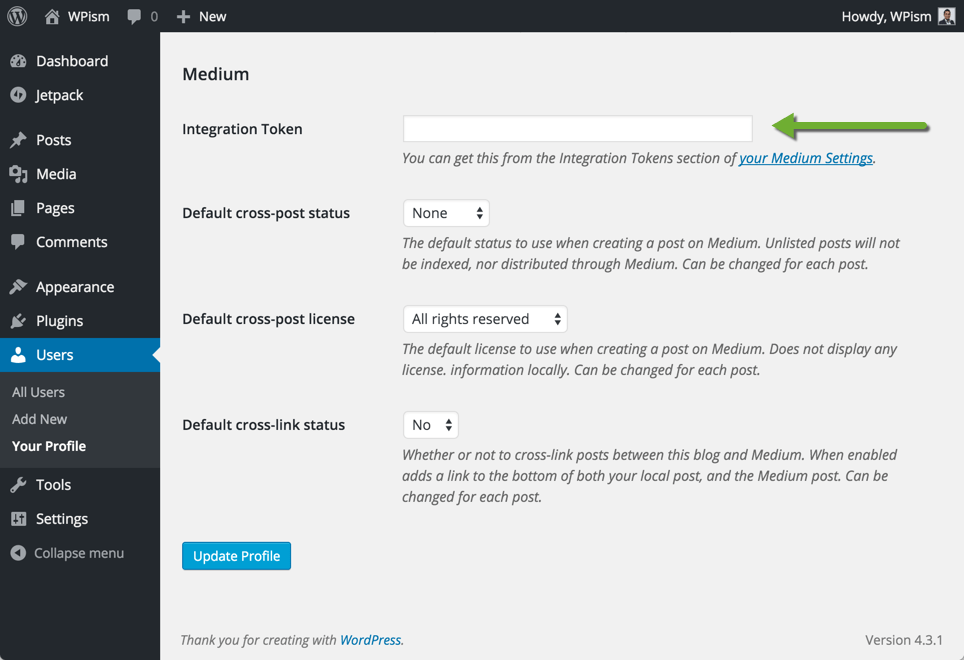 Settings for Medium Plugin for WordPress