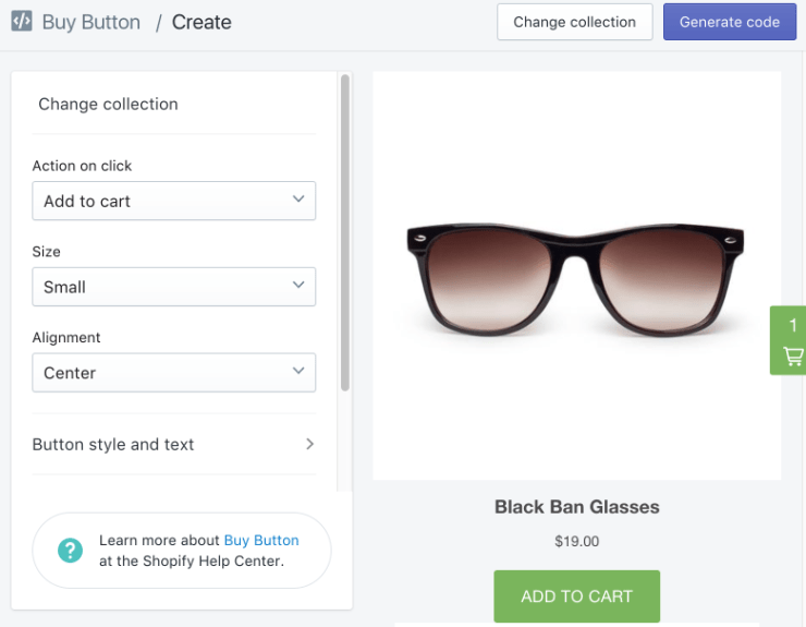 Shopify Buy Button for Collection WordPress Integration