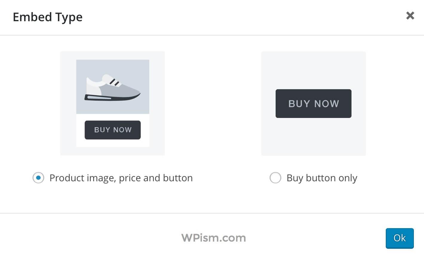 Shopify Product Embed Type WordPress