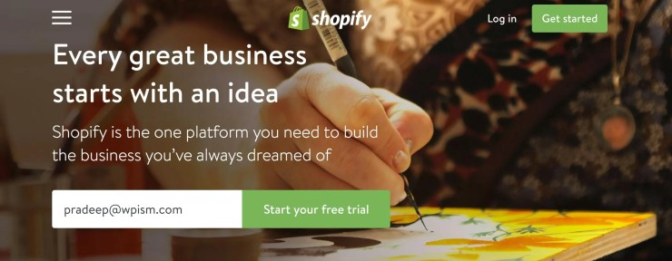 Shopify Store Sign up Home page