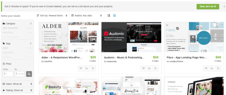 Show Latest WordPress Themes ThemeForest