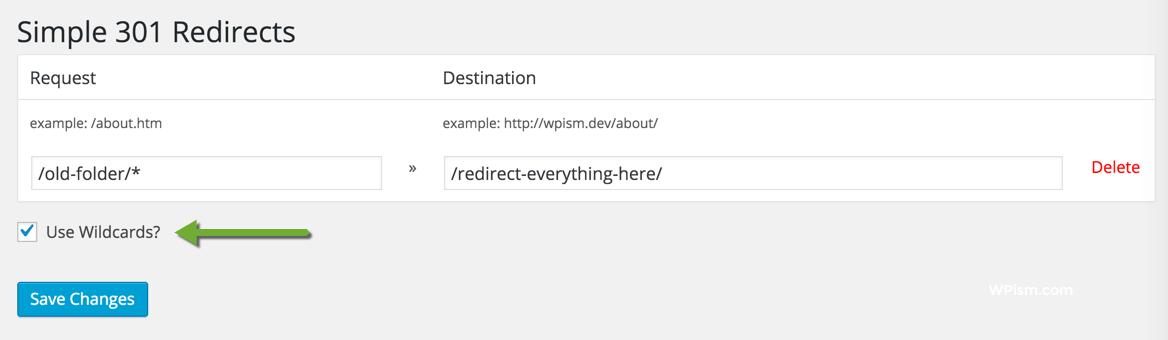 Simple 301 Redirects WordPress Plugin Settings