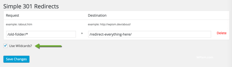 Simple 301 Redirects WordPress Plugin Settings